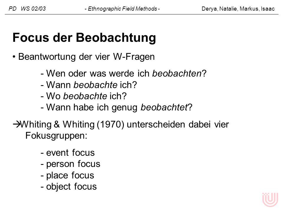 PD WS 02/03 - Ethnographic Field Methods - Derya, Natalie, Markus, Isaac Focus der Beobachtung Beantwortung der vier W-Fragen - Wen oder was werde ich