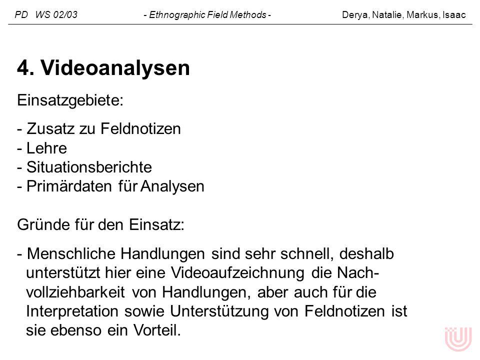 PD WS 02/03 - Ethnographic Field Methods - Derya, Natalie, Markus, Isaac 4. Videoanalysen Einsatzgebiete: - Zusatz zu Feldnotizen - Lehre - Situations