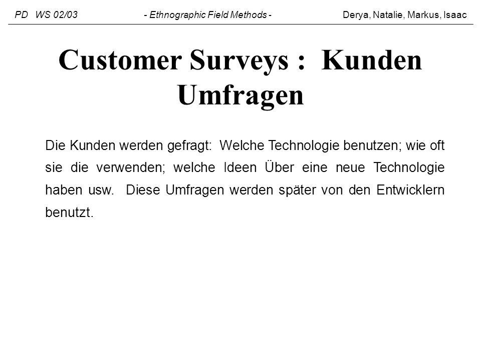 Customer Surveys : Kunden Umfragen Die Kunden werden gefragt: Welche Technologie benutzen; wie oft sie die verwenden; welche Ideen Über eine neue Tech