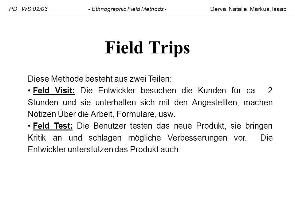 Field Trips Diese Methode besteht aus zwei Teilen: Feld Visit: Die Entwickler besuchen die Kunden für ca. 2 Stunden und sie unterhalten sich mit den A