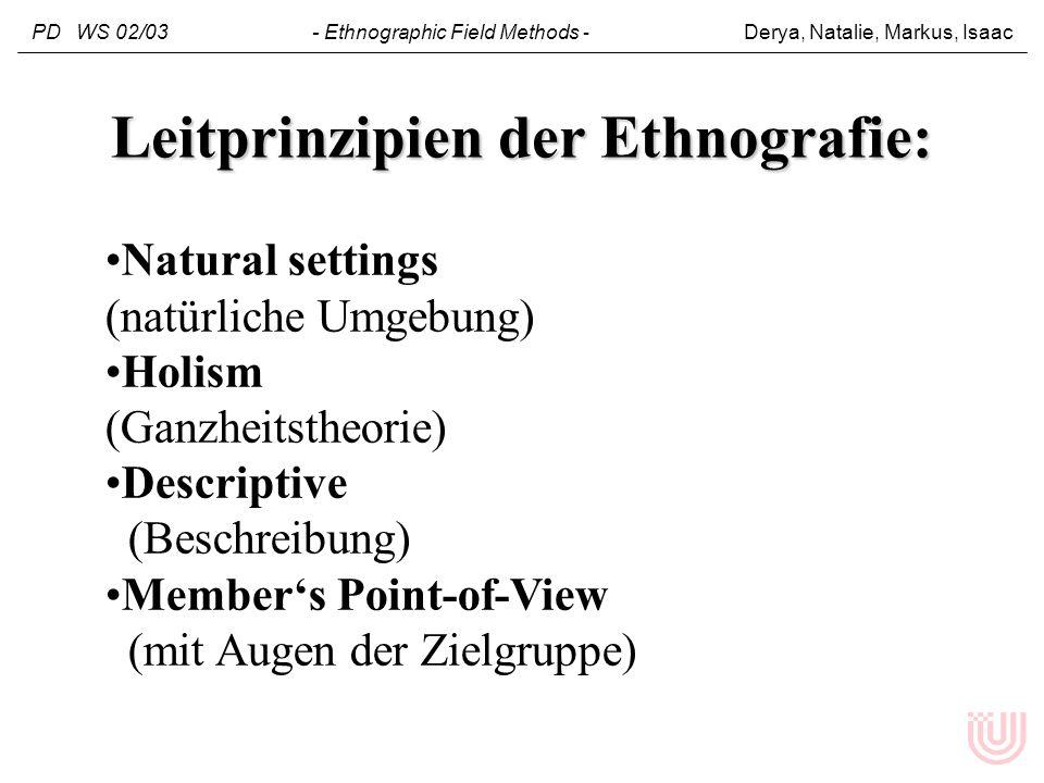 Natural settings (natürliche Umgebung) Holism (Ganzheitstheorie) Descriptive (Beschreibung) Members Point-of-View (mit Augen der Zielgruppe) Leitprinz