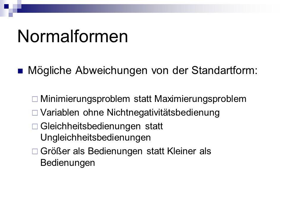 Normalformen Mögliche Abweichungen von der Standartform: Minimierungsproblem statt Maximierungsproblem Variablen ohne Nichtnegativitätsbedienung Gleic