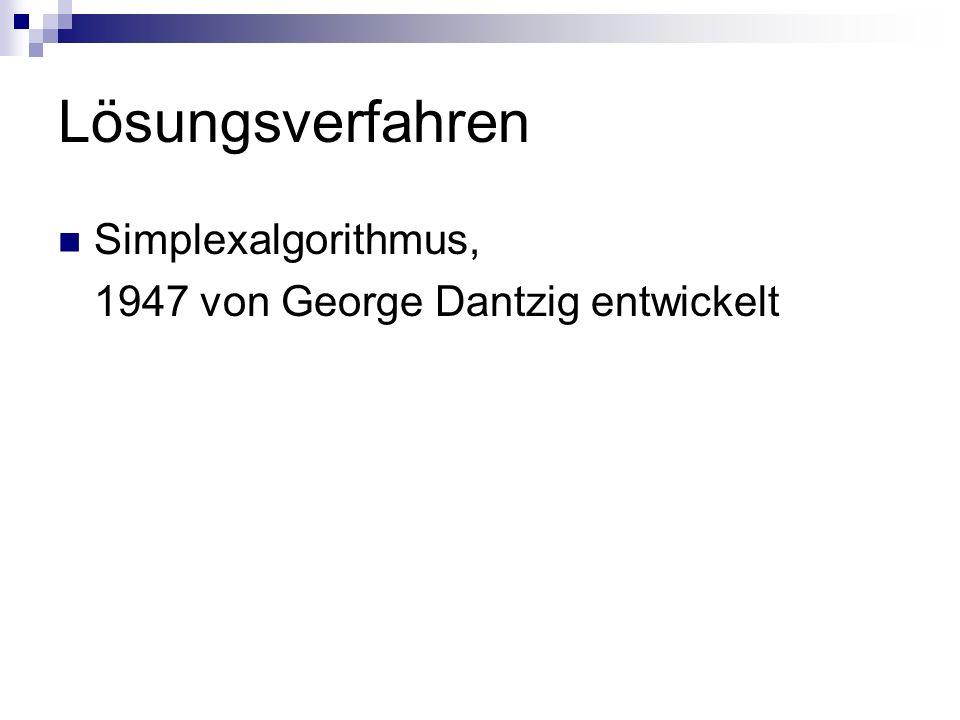 Lösungsverfahren Simplexalgorithmus, 1947 von George Dantzig entwickelt