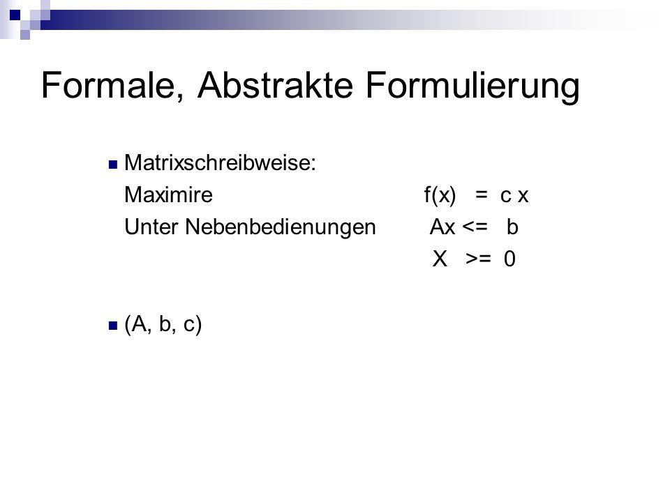 Matrixschreibweise: Maximire f(x) = c x Unter Nebenbedienungen Ax <= b X >= 0 (A, b, c)