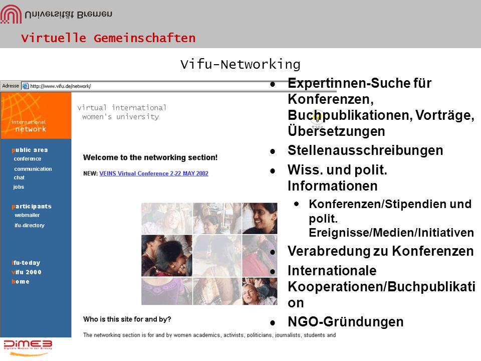 Virtuelle Gemeinschaften Vifu-Networking Expertinnen-Suche für Konferenzen, Buchpublikationen, Vorträge, Übersetzungen Stellenausschreibungen Wiss. un