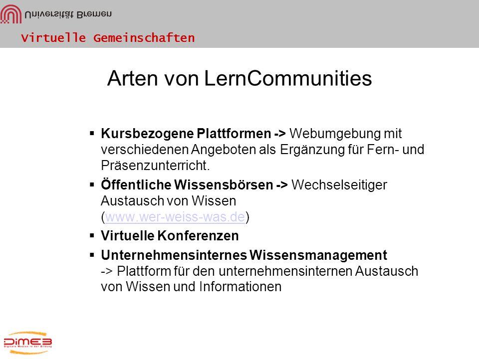 Virtuelle Gemeinschaften Arten von LernCommunities Kursbezogene Plattformen -> Webumgebung mit verschiedenen Angeboten als Ergänzung für Fern- und Prä