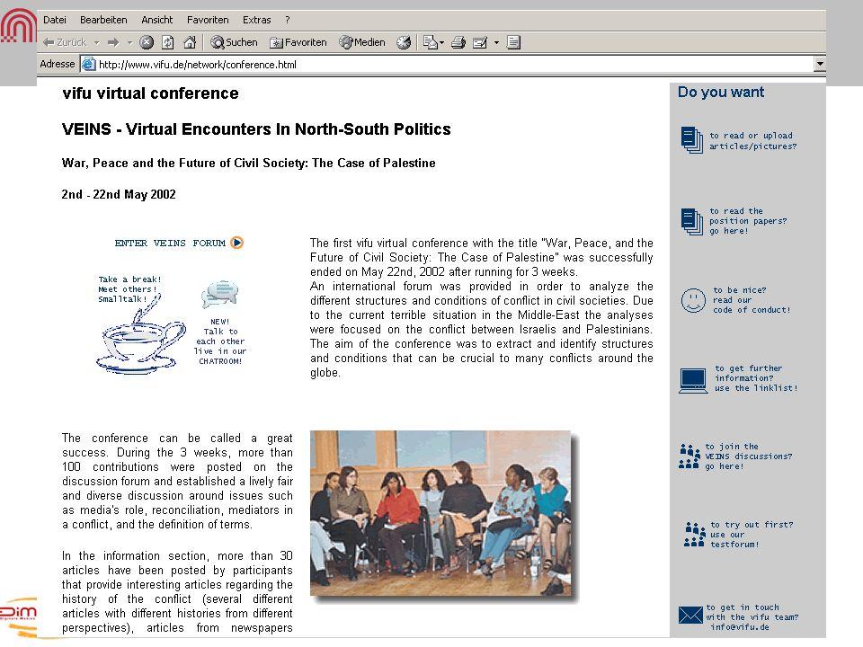 Virtuelle Gemeinschaften Vifu: Kooperatives Lernen VEINS-virtuelle Konferenz