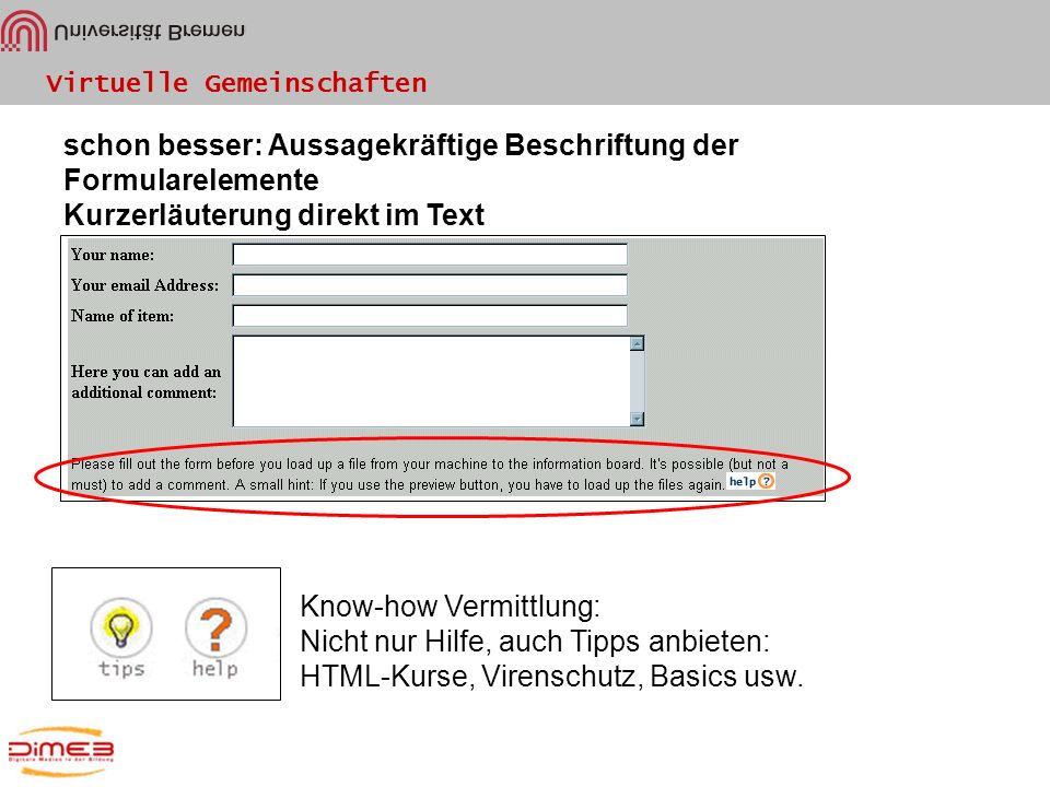 Virtuelle Gemeinschaften schon besser: Aussagekräftige Beschriftung der Formularelemente Kurzerläuterung direkt im Text Know-how Vermittlung: Nicht nu