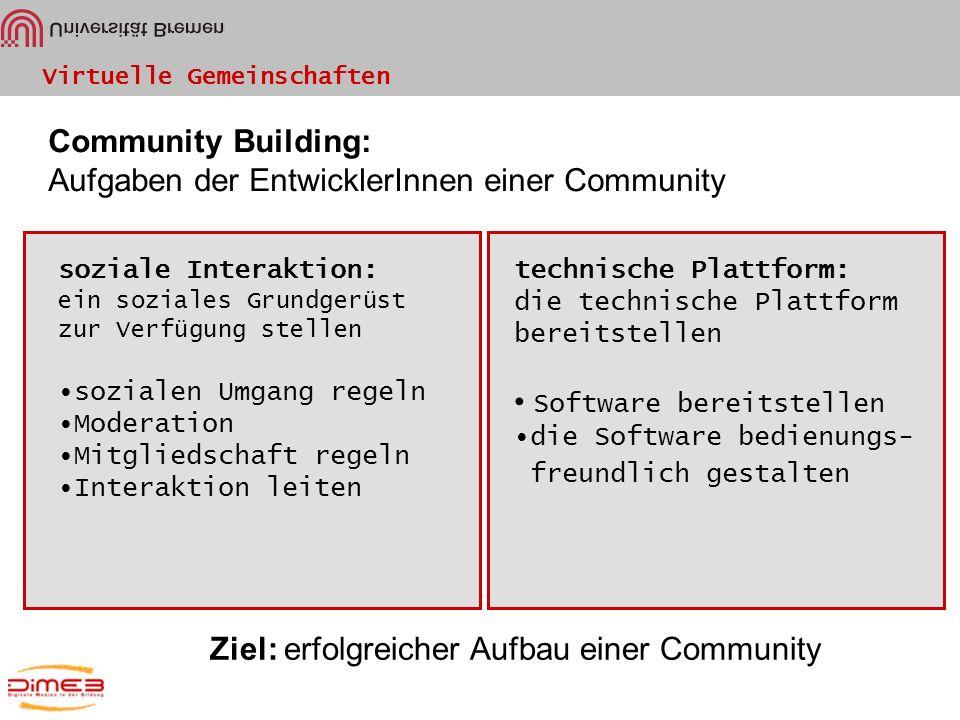 Virtuelle Gemeinschaften Community Building: Aufgaben der EntwicklerInnen einer Community soziale Interaktion: ein soziales Grundgerüst zur Verfügung