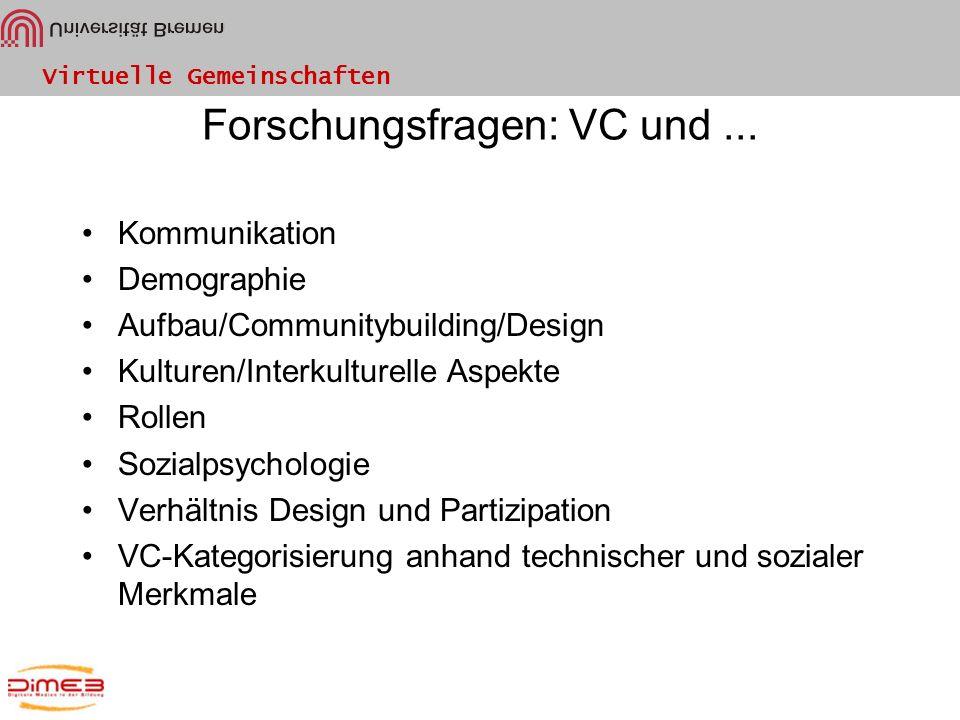 Virtuelle Gemeinschaften Forschungsfragen: VC und... Kommunikation Demographie Aufbau/Communitybuilding/Design Kulturen/Interkulturelle Aspekte Rollen