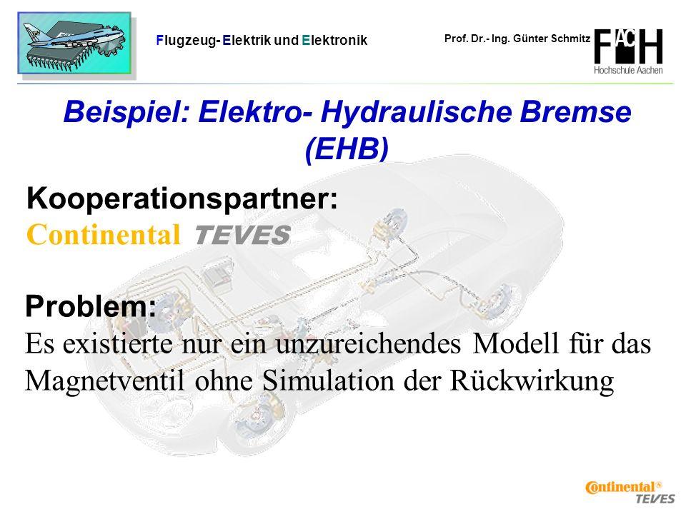 Prof. Dr.- Ing. Günter Schmitz Flugzeug- Elektrik und Elektronik Seite 17 Beispiel: Elektro- Hydraulische Bremse (EHB) Problem: Es existierte nur ein