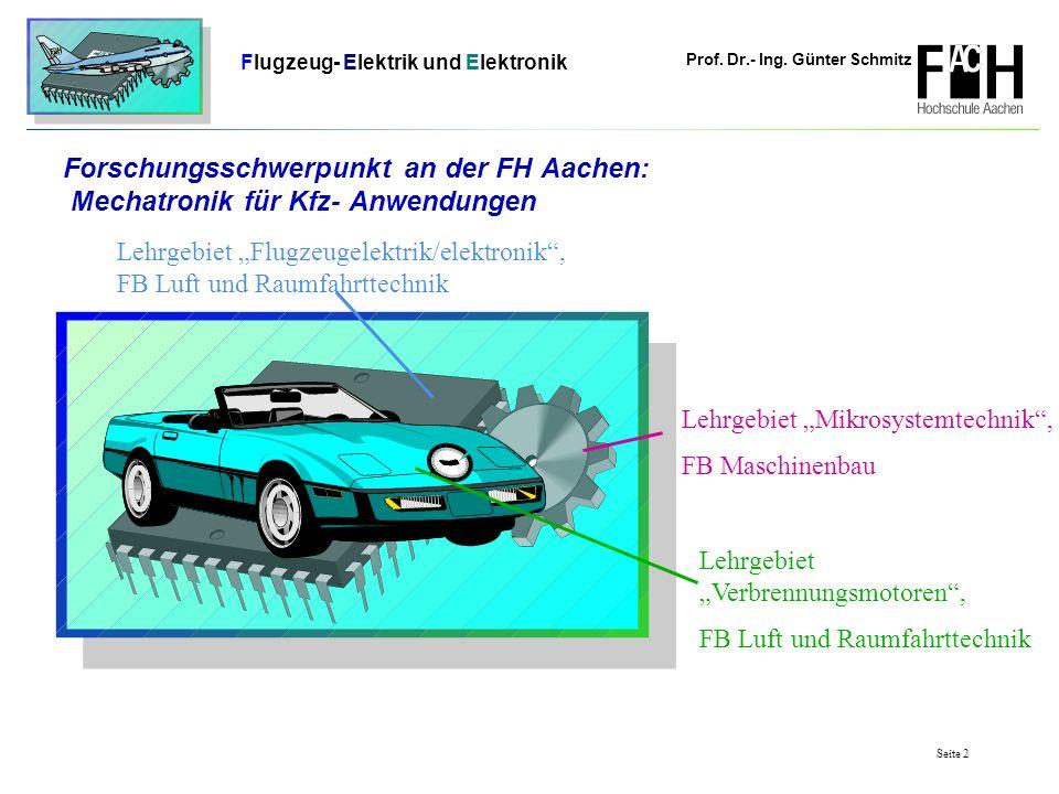 Prof. Dr.- Ing. Günter Schmitz Flugzeug- Elektrik und Elektronik Seite 2 Forschungsschwerpunkt an der FH Aachen: Mechatronik für Kfz- Anwendungen Lehr