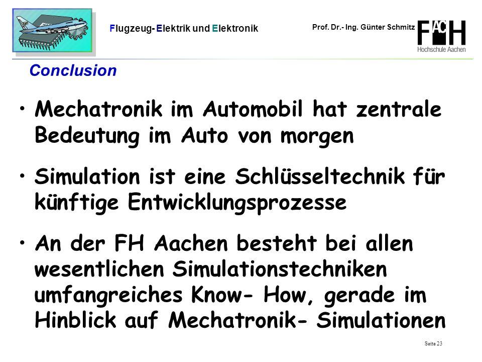 Prof. Dr.- Ing. Günter Schmitz Flugzeug- Elektrik und Elektronik Seite 23 Conclusion Mechatronik im Automobil hat zentrale Bedeutung im Auto von morge