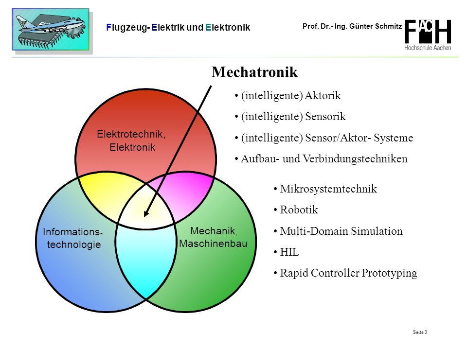 Prof. Dr.- Ing. Günter Schmitz Flugzeug- Elektrik und Elektronik Seite 3 (intelligente) Aktorik (intelligente) Sensorik (intelligente) Sensor/Aktor- S