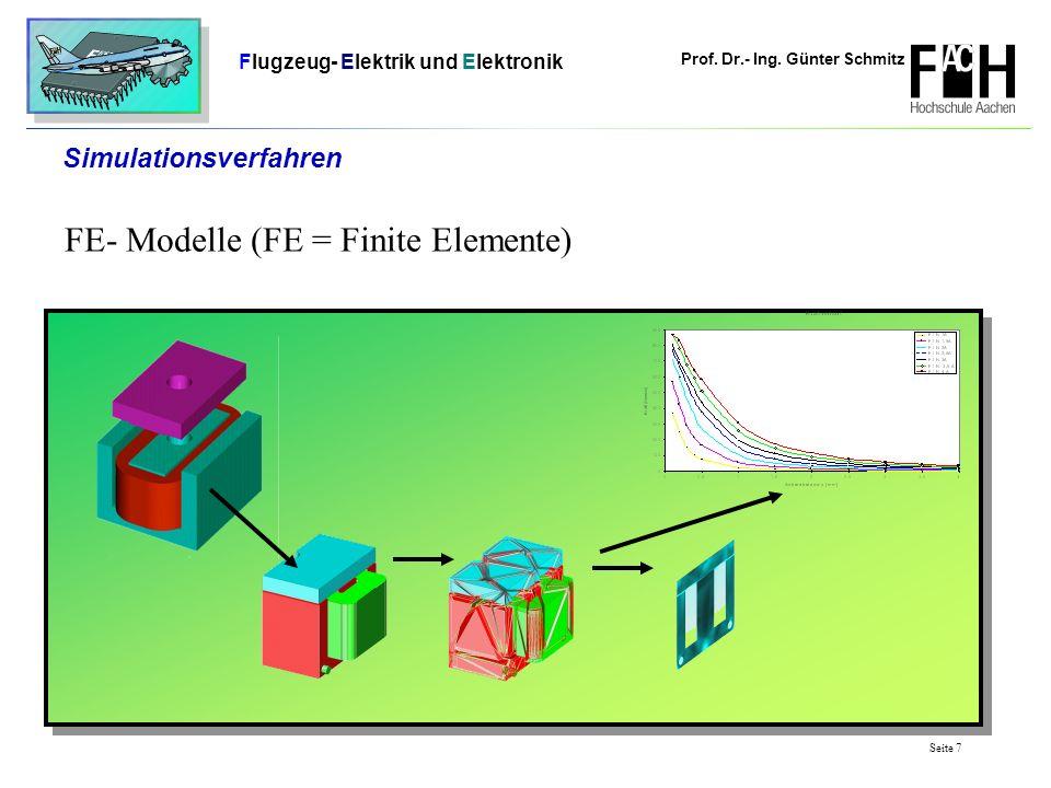 Prof. Dr.- Ing. Günter Schmitz Flugzeug- Elektrik und Elektronik Seite 7 Simulationsverfahren FE- Modelle (FE = Finite Elemente)
