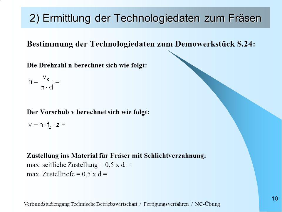 Verbundstudiengang Technische Betriebswirtschaft / Fertigungsverfahren / NC-Übung 10 2) Ermittlung der Technologiedaten zum Fräsen Bestimmung der Tech