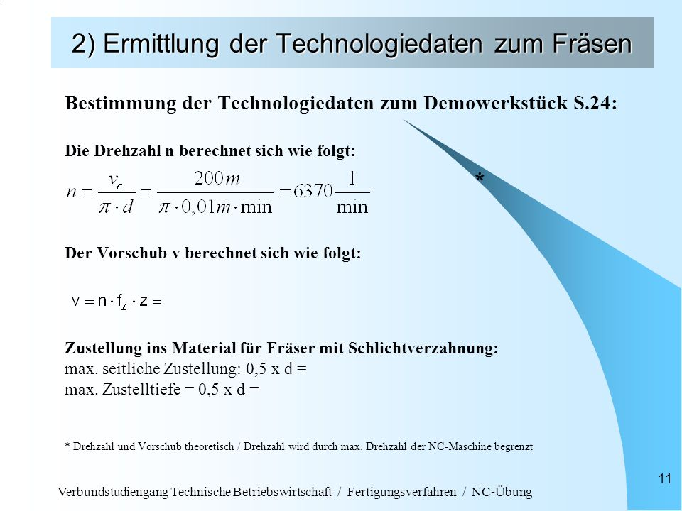 Verbundstudiengang Technische Betriebswirtschaft / Fertigungsverfahren / NC-Übung 11 2) Ermittlung der Technologiedaten zum Fräsen Bestimmung der Tech