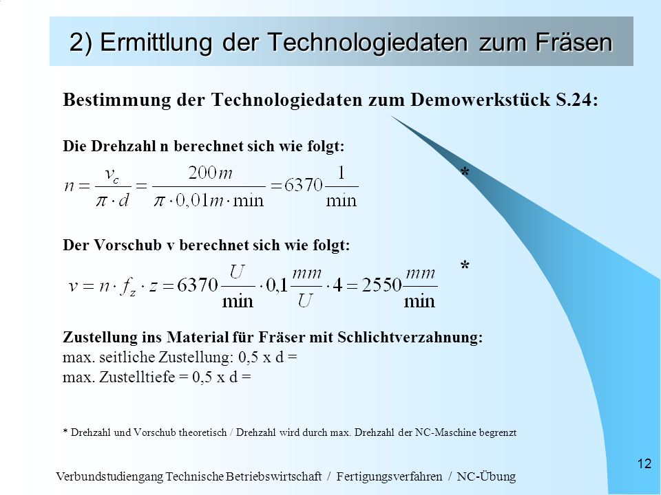 Verbundstudiengang Technische Betriebswirtschaft / Fertigungsverfahren / NC-Übung 12 2) Ermittlung der Technologiedaten zum Fräsen Bestimmung der Tech