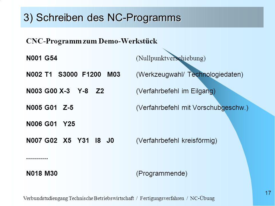 Verbundstudiengang Technische Betriebswirtschaft / Fertigungsverfahren / NC-Übung 17 3) Schreiben des NC-Programms CNC-Programm zum Demo-Werkstück N00