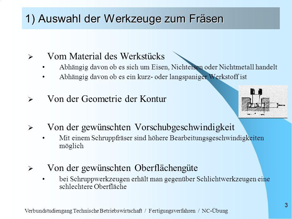 Verbundstudiengang Technische Betriebswirtschaft / Fertigungsverfahren / NC-Übung 3 1) Auswahl der Werkzeuge zum Fräsen Vom Material des Werkstücks Ab