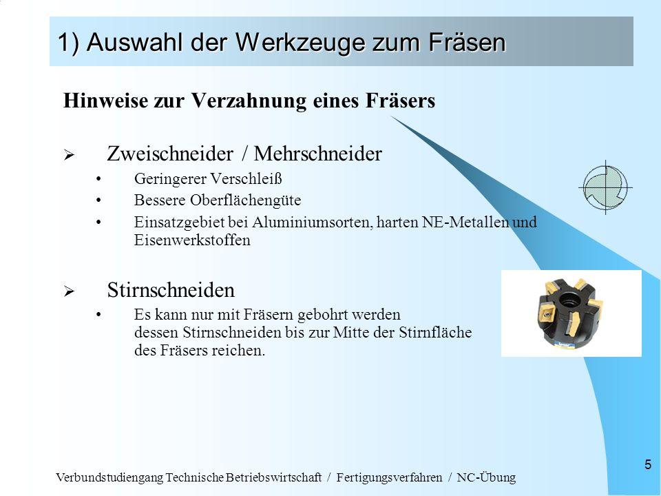 Verbundstudiengang Technische Betriebswirtschaft / Fertigungsverfahren / NC-Übung 5 1) Auswahl der Werkzeuge zum Fräsen Hinweise zur Verzahnung eines