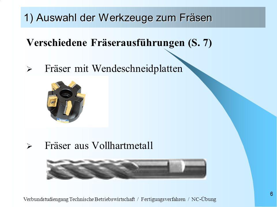 Verbundstudiengang Technische Betriebswirtschaft / Fertigungsverfahren / NC-Übung 6 1) Auswahl der Werkzeuge zum Fräsen Verschiedene Fräserausführunge