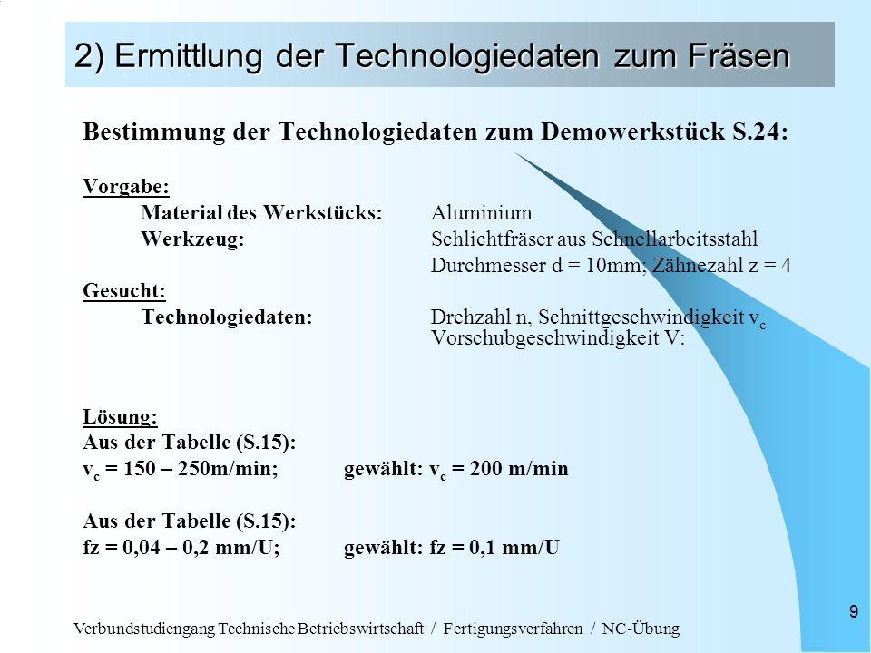 Verbundstudiengang Technische Betriebswirtschaft / Fertigungsverfahren / NC-Übung 9 2) Ermittlung der Technologiedaten zum Fräsen Bestimmung der Techn