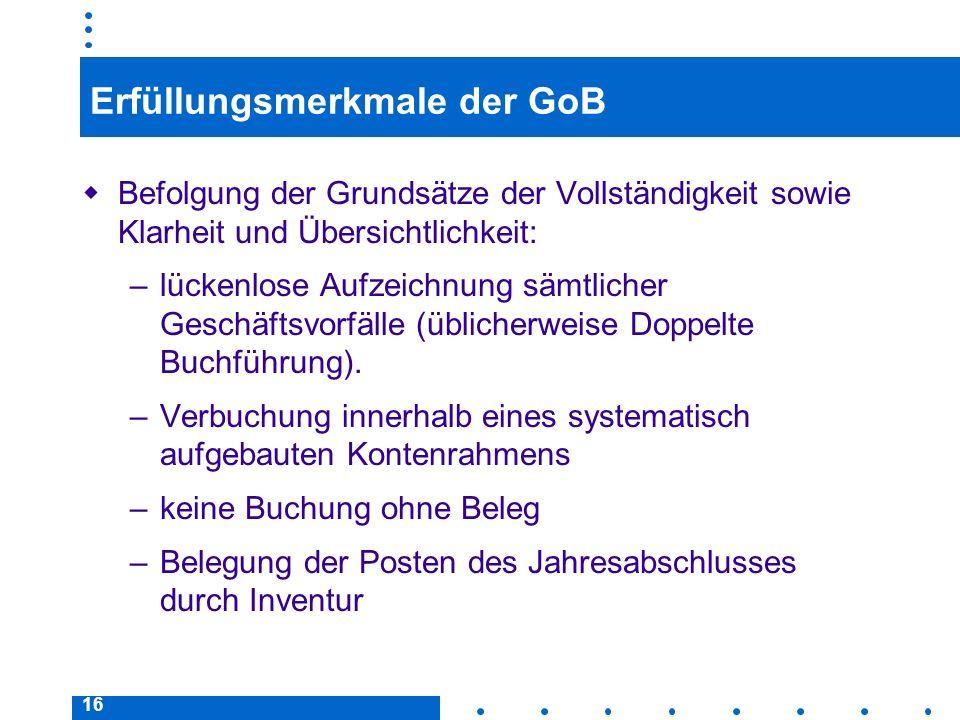 16 Erfüllungsmerkmale der GoB Befolgung der Grundsätze der Vollständigkeit sowie Klarheit und Übersichtlichkeit: –lückenlose Aufzeichnung sämtlicher G