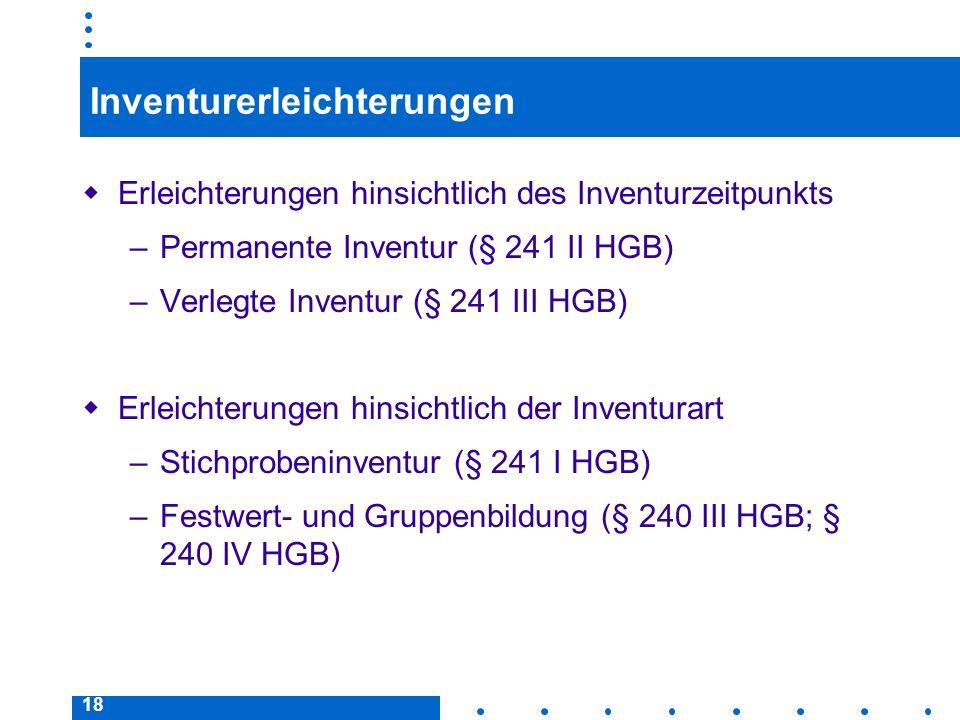 18 Inventurerleichterungen Erleichterungen hinsichtlich des Inventurzeitpunkts –Permanente Inventur (§ 241 II HGB) –Verlegte Inventur (§ 241 III HGB)