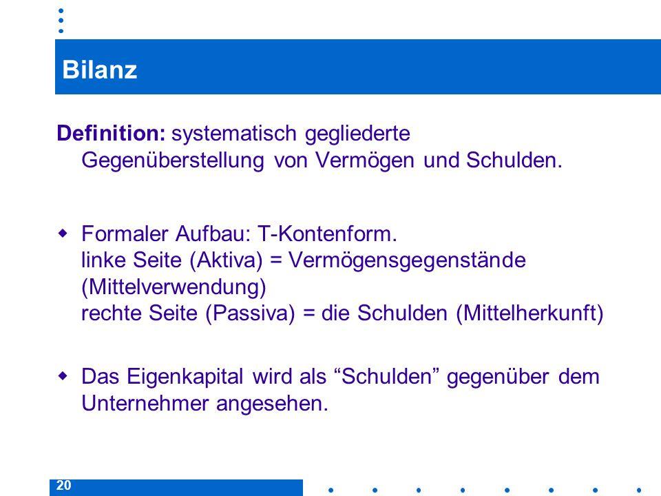 20 Bilanz Definition: systematisch gegliederte Gegenüberstellung von Vermögen und Schulden. Formaler Aufbau: T-Kontenform. linke Seite (Aktiva) = Verm