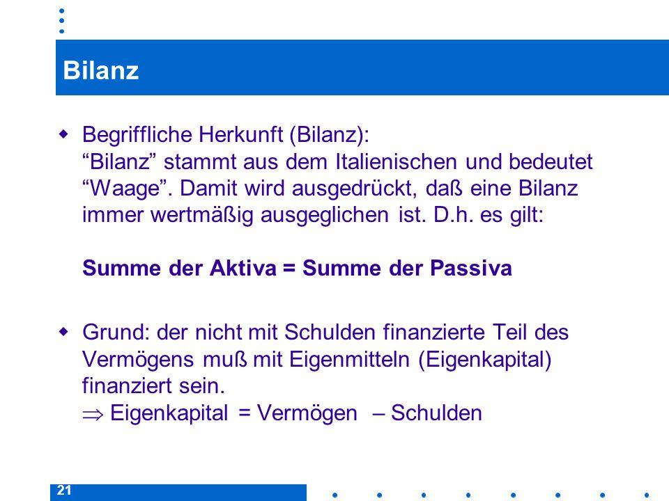 21 Bilanz Begriffliche Herkunft (Bilanz): Bilanz stammt aus dem Italienischen und bedeutet Waage. Damit wird ausgedrückt, daß eine Bilanz immer wertmä