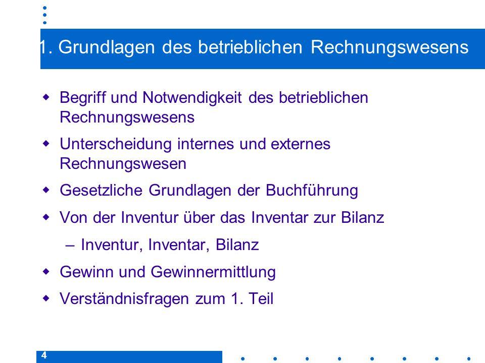 4 1. Grundlagen des betrieblichen Rechnungswesens Begriff und Notwendigkeit des betrieblichen Rechnungswesens Unterscheidung internes und externes Rec