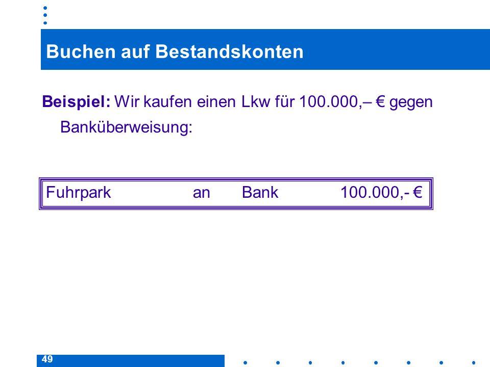 49 Buchen auf Bestandskonten Beispiel: Wir kaufen einen Lkw für 100.000,– gegen Banküberweisung: FuhrparkanBank100.000,-