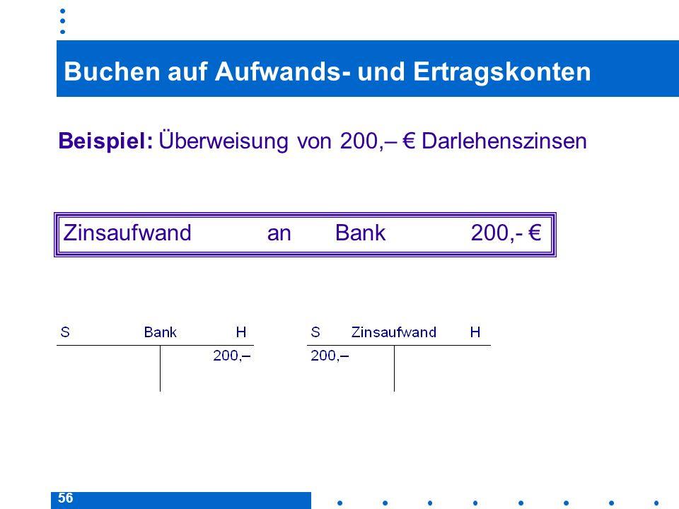 56 Buchen auf Aufwands- und Ertragskonten Beispiel: Überweisung von 200,– Darlehenszinsen ZinsaufwandanBank200,-