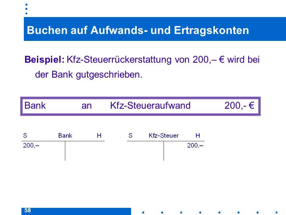 58 Buchen auf Aufwands- und Ertragskonten Beispiel: Kfz-Steuerrückerstattung von 200,– wird bei der Bank gutgeschrieben. BankanKfz-Steueraufwand200,-