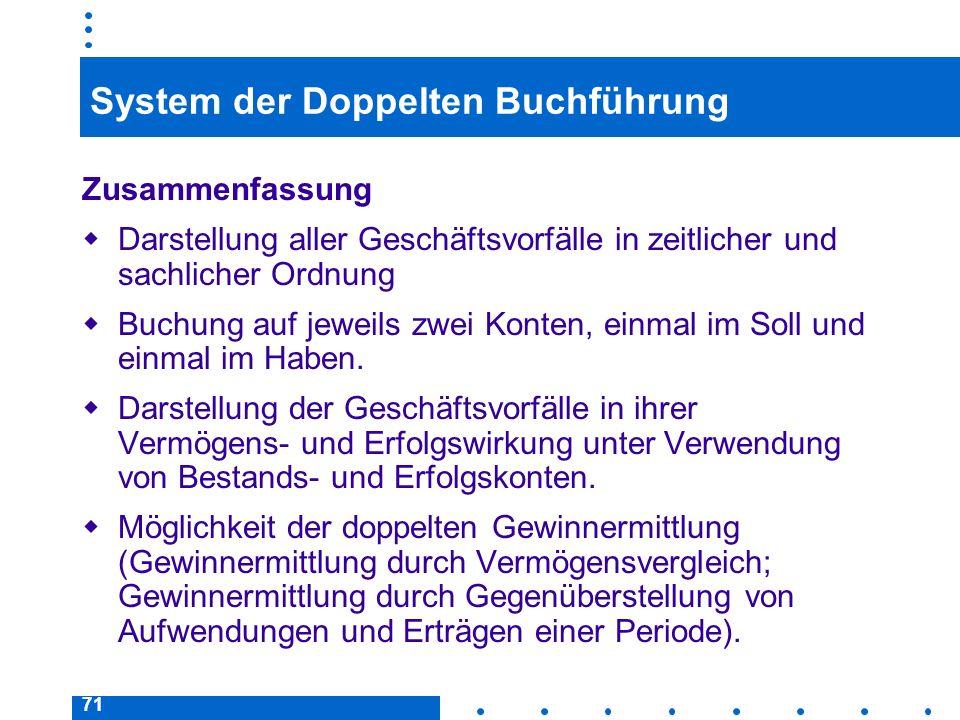 71 System der Doppelten Buchführung Zusammenfassung Darstellung aller Geschäftsvorfälle in zeitlicher und sachlicher Ordnung Buchung auf jeweils zwei