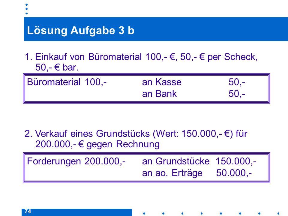 74 Lösung Aufgabe 3 b 1. Einkauf von Büromaterial 100,-, 50,- per Scheck, 50,- bar. Büromaterial 100,- an Kasse50,- an Bank50,- Forderungen 200.000,-a