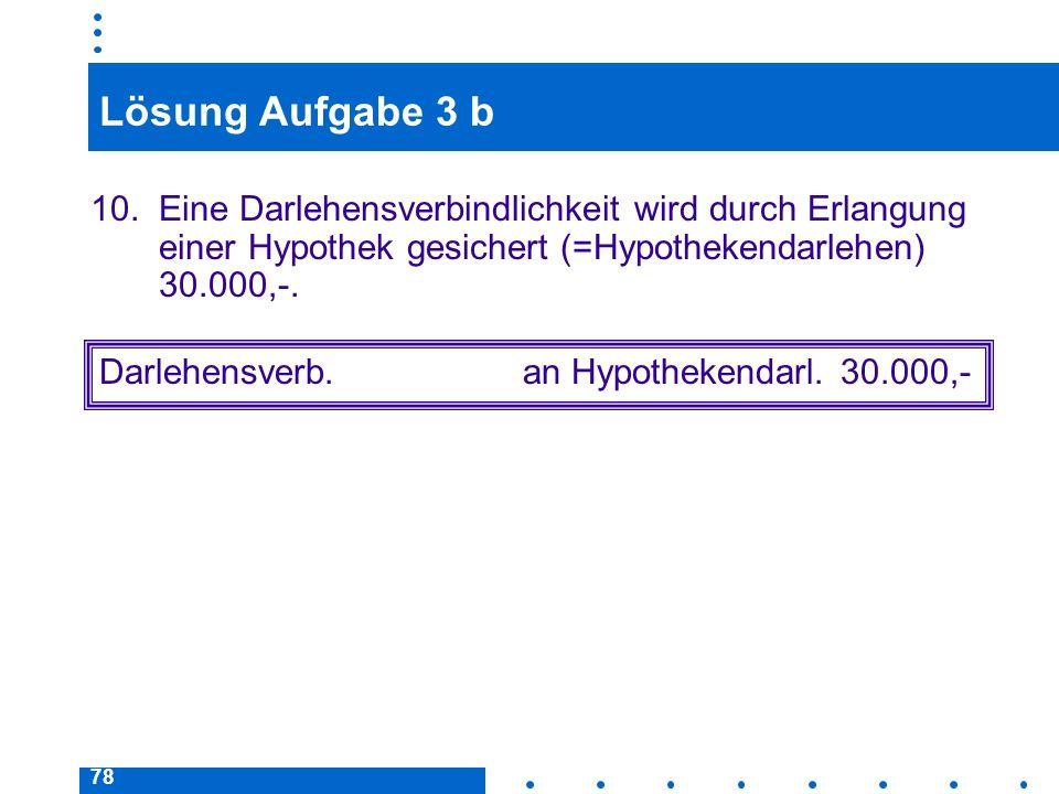 78 Lösung Aufgabe 3 b 10. Eine Darlehensverbindlichkeit wird durch Erlangung einer Hypothek gesichert (=Hypothekendarlehen) 30.000,-. Darlehensverb.an