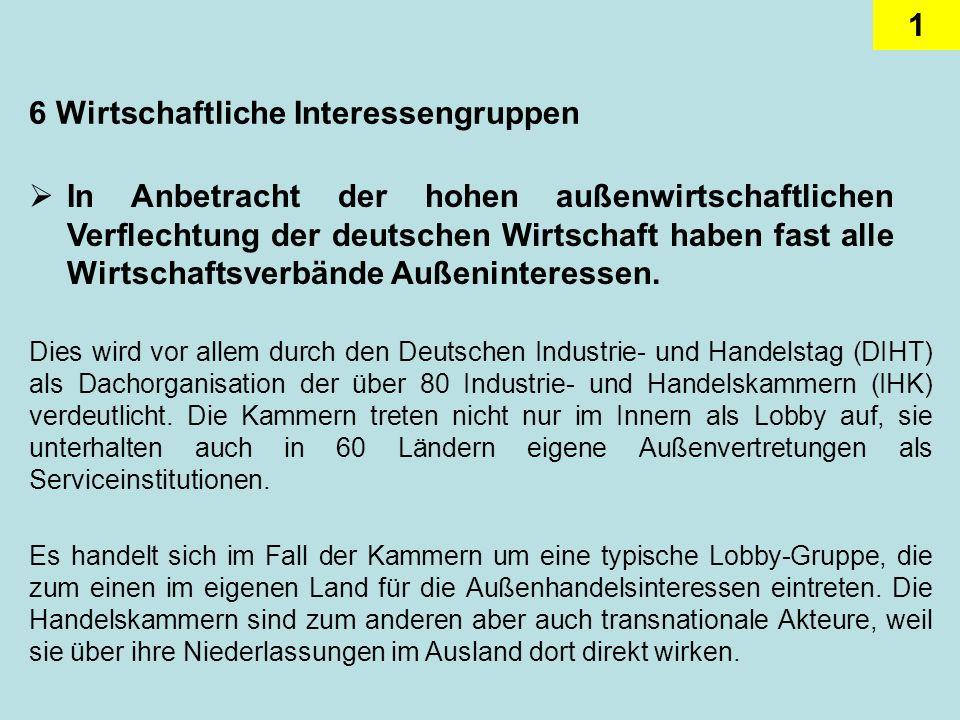1 6 Wirtschaftliche Interessengruppen In Anbetracht der hohen außenwirtschaftlichen Verflechtung der deutschen Wirtschaft haben fast alle Wirtschaftsverbände Außeninteressen.