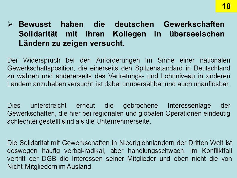 10 Bewusst haben die deutschen Gewerkschaften Solidarität mit ihren Kollegen in überseeischen Ländern zu zeigen versucht. Der Widerspruch bei den Anfo