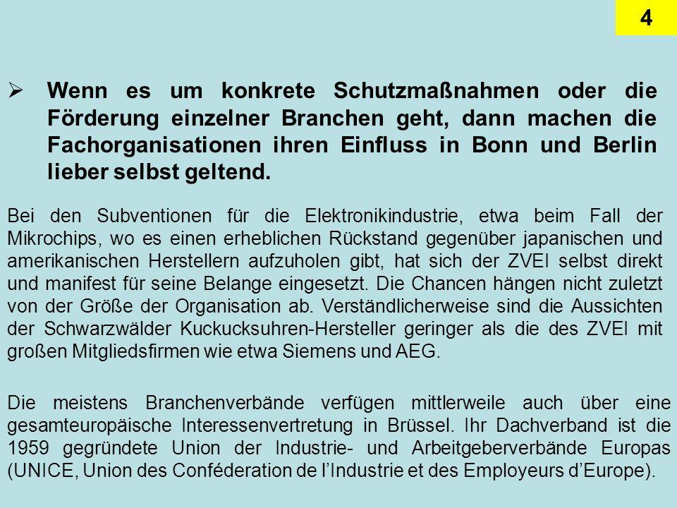 4 Wenn es um konkrete Schutzmaßnahmen oder die Förderung einzelner Branchen geht, dann machen die Fachorganisationen ihren Einfluss in Bonn und Berlin lieber selbst geltend.