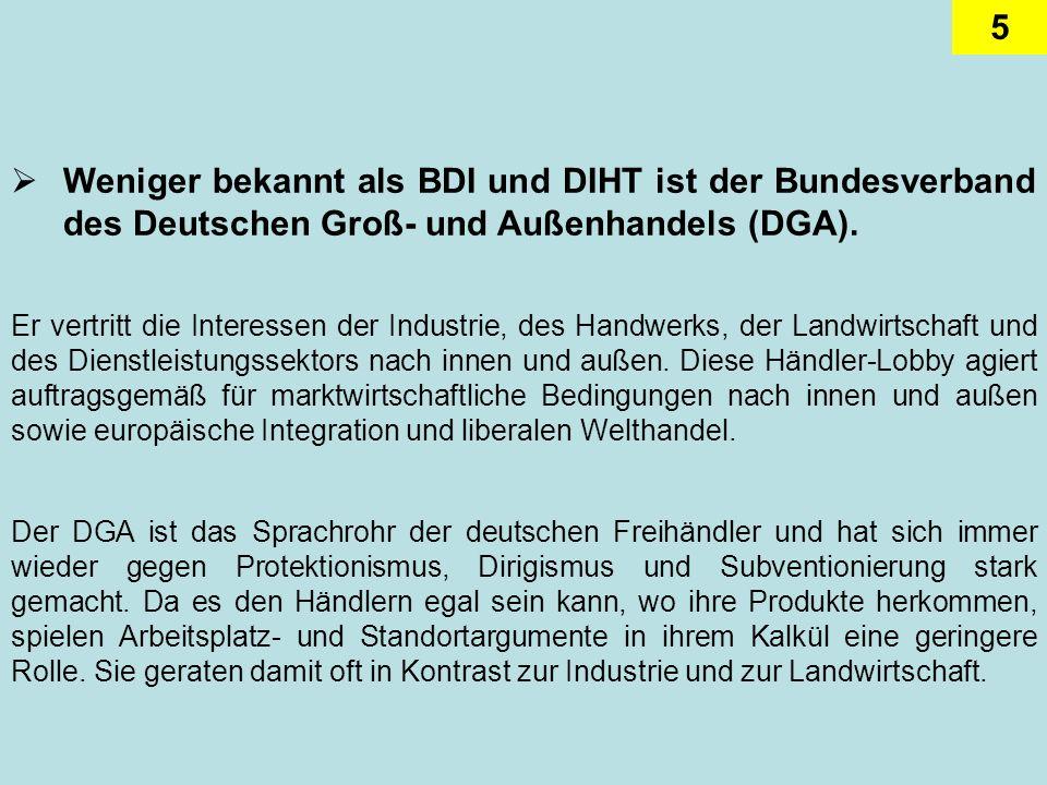 5 Weniger bekannt als BDI und DIHT ist der Bundesverband des Deutschen Groß- und Außenhandels (DGA). Er vertritt die Interessen der Industrie, des Han