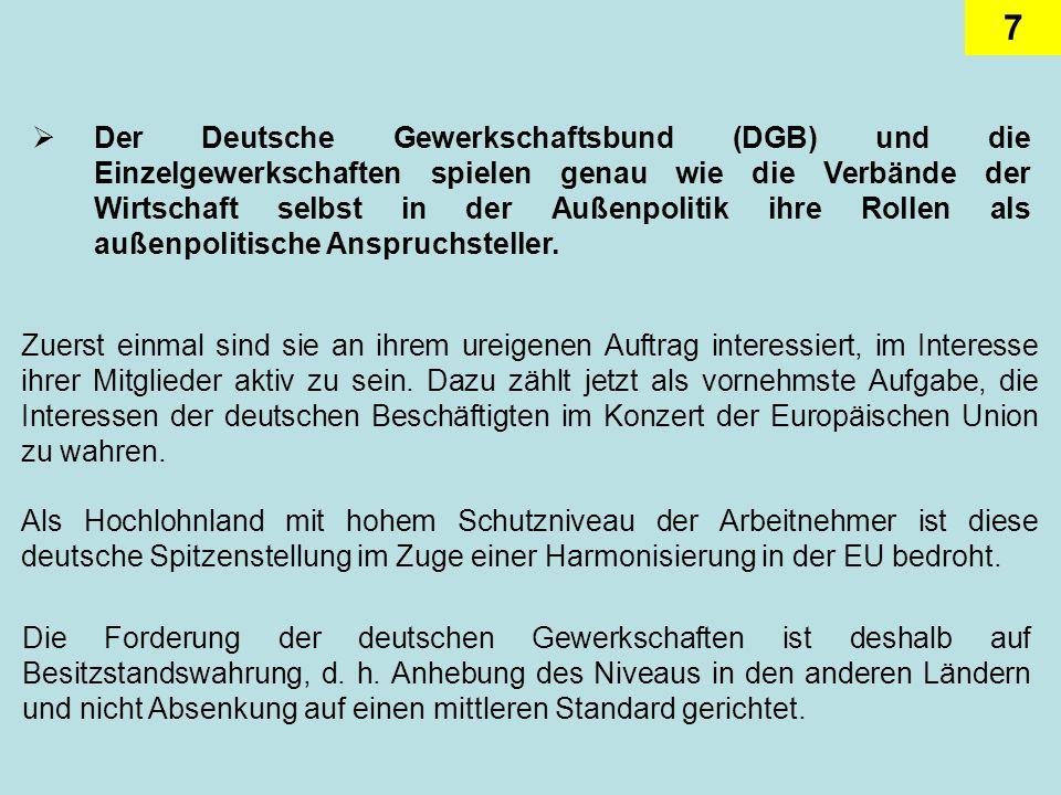 7 Der Deutsche Gewerkschaftsbund (DGB) und die Einzelgewerkschaften spielen genau wie die Verbände der Wirtschaft selbst in der Außenpolitik ihre Rollen als außenpolitische Anspruchsteller.