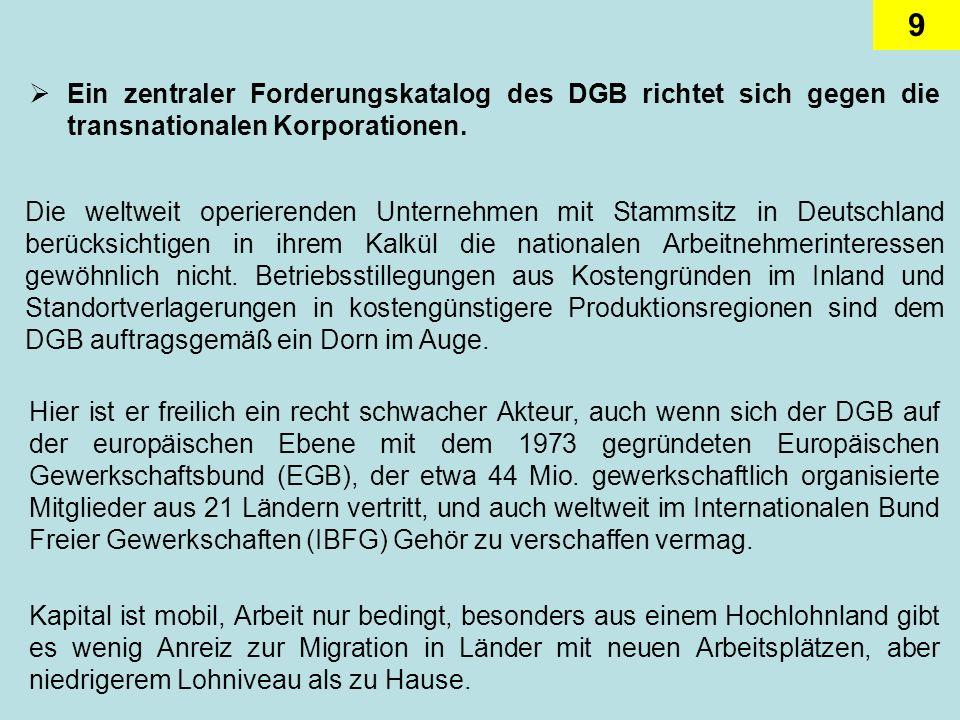 9 Ein zentraler Forderungskatalog des DGB richtet sich gegen die transnationalen Korporationen. Die weltweit operierenden Unternehmen mit Stammsitz in