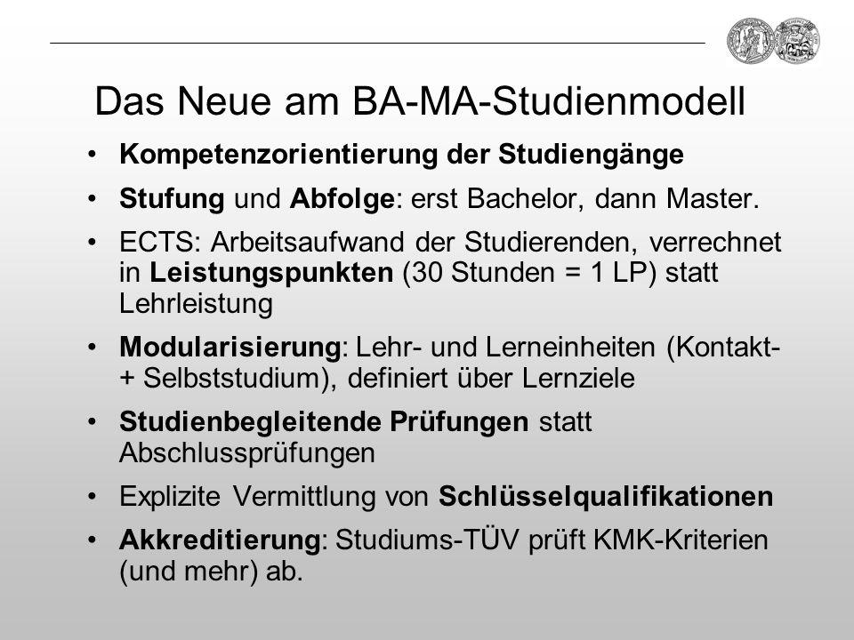 Das Neue am BA-MA-Studienmodell Kompetenzorientierung der Studiengänge Stufung und Abfolge: erst Bachelor, dann Master. ECTS: Arbeitsaufwand der Studi