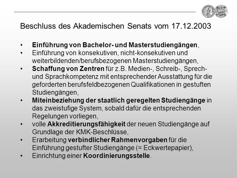 Einführung von Bachelor- und Masterstudiengängen, Einführung von konsekutiven, nicht-konsekutiven und weiterbildenden/berufsbezogenen Masterstudiengän