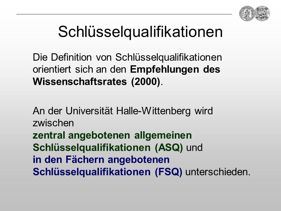 Schlüsselqualifikationen Die Definition von Schlüsselqualifikationen orientiert sich an den Empfehlungen des Wissenschaftsrates (2000). An der Univers