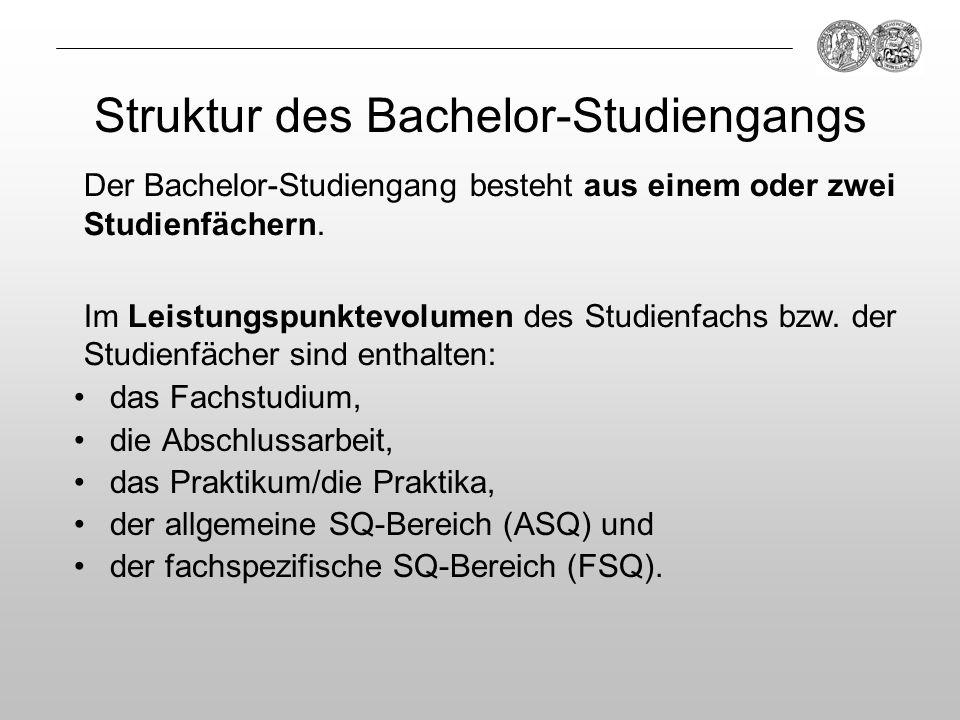 Struktur des Bachelor-Studiengangs das Fachstudium, die Abschlussarbeit, das Praktikum/die Praktika, der allgemeine SQ-Bereich (ASQ) und der fachspezi