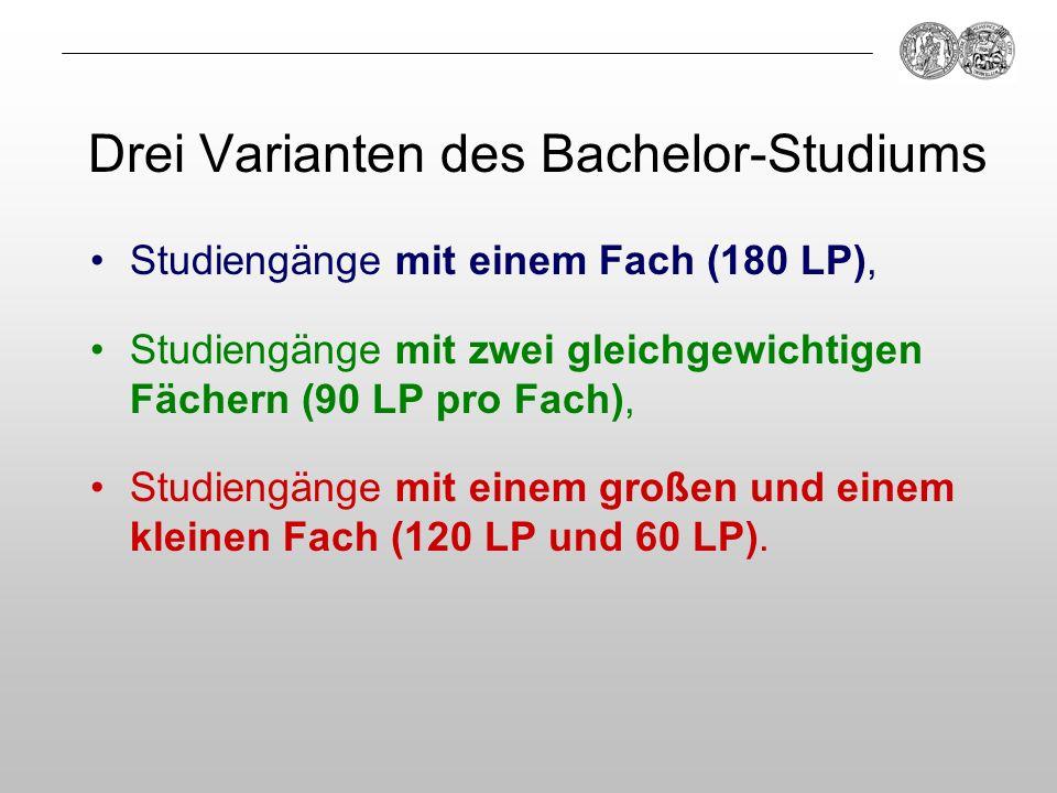Drei Varianten des Bachelor-Studiums Studiengänge mit einem Fach (180 LP), Studiengänge mit zwei gleichgewichtigen Fächern (90 LP pro Fach), Studiengä