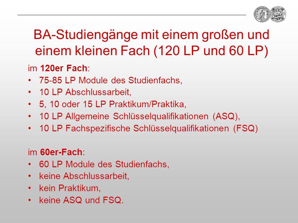 BA-Studiengänge mit einem großen und einem kleinen Fach (120 LP und 60 LP) im 120er Fach: 75-85 LP Module des Studienfachs, 10 LP Abschlussarbeit, 5,